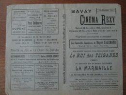 BAVAY CINEMA REXY 28 ET 29 MAI 1936 LES FUNERAILLES GRANDIOSES DE ROGER SALENGRO,LE ROI DES TZIGANES ET LA MARMAILLE - Programme