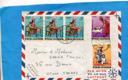 MARCOPHILIE- Lettre  RCA Pour Françe-cad   1973- 5 Stamps N° 185-6+7 Hommage à La Mère - Zentralafrik. Republik