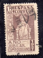 SPAIN ESPAÑA SPAGNA 1937 ST JAMES OF COMPOSTELA SANTIAGO SAN GIACOMO  CENT. 15c  USED USATO OBLITERE' - 1931-Aujourd'hui: II. République - ....Juan Carlos I