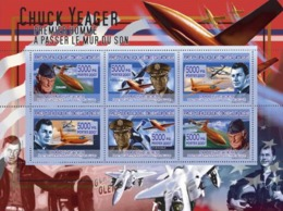 Guinea 2007 MNH - TRANSPORTS-Avions, Chuck Yeager. YT 3167-3171, Mi 5244-5249 - Guinea (1958-...)