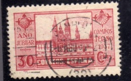 SPAIN ESPAÑA SPAGNA 1937 ST JAMES OF COMPOSTELA CATHEDRAL SANTIAGO SAN GIACOMO  CENT. 30c  USED USATO OBLITERE' - 1931-50 Gebraucht
