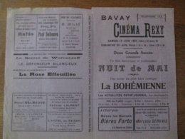 BAVAY CINEMA REXY 19 ET 20 JUIN 1937 NUIT DE MAI ET LA BOHEMIENNE - Programmes