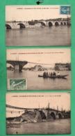 44 Loire Atlantiques Nantes Ecroulement Du Pont De Pirmil 1924 Lot De 3 Cartes Postales - Nantes