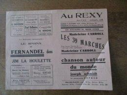 BAVAY CINEMA REXY 9 ET 10 OCTOBRE 1937 MADELEINE CARROLL DANS LES 39 MARCHES ET CHANSON AUTOUR DU MONDE - Programmes