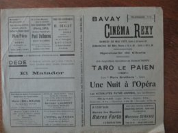 """BAVAY CINEMA REXY 29 ET 30 MAI 1937 TARO LE PAÏEN ET LES """"MARX BROTHERS"""" DANS UNE NUIT A L'OPERA - Programme"""