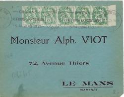ORLEANS GARE KRAG 1925 DREYFUSS (ORL405) En 1994 Cote 120F Foire Exposition Juin 1925 Timbres 5c Blanc X 5 DEVANT SEUL - Marcophilie (Lettres)