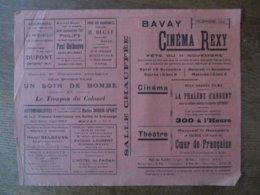 BAVAY CINEMA REXY 10 ET 11 NOVEMBRE 1937 LA PHALENE D'ARGENT ET THEÂTRE COEUR DE FRANCAISE DRAME D'ESPIONNAGE - Programmes