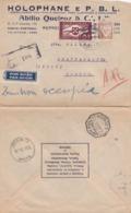 LETTRE PORTUGAL. 8 1 42. HOLOPHANE E P.B.L. ABILIO QUEIRZ POUR CHATEAUROUX FRANCE ZONE NON OCCUPEE - 1910-... République