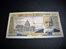 """FRANCE 5 Nouveaux Francs 05/07/1962 """"Victor Hugo"""", Pick N° 141 , Fayette N°56 (12), FRANCIA ,FRANKREICH , - 5 NF 1959-1965 ''Victor Hugo''"""
