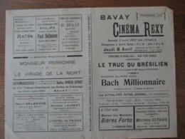 BAVAY CINEMA REXY 3,4 ET 8 AVRIL 1937 LE TRUC DU BRESILIEN ET BACH MILLIONNAIRE - Programme