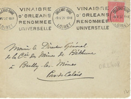 ORLEANS GARE KRAG 1927 DREYFUSS (ORL408) En 1994 Cote 20F VINAIGRE D4ORLEANS RENOMMEE UNIVERSELLE  DEVANT SEUL - Marcophilie (Lettres)