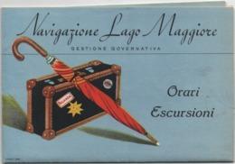Navigazione Lago Maggiore: Depliant Turistico Del 1951 Con Cartina Geografica Ed Immagini Dei Traghetti - Dépliants Turistici