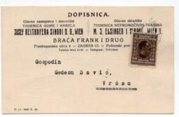 1927 YUGOSLAVIA, CROATIA, ZAGREB TO VRSAC, BRAĆA FRANK, ZAGREB, CORRESPONDENCE CARD - 1919-1929 Kingdom Of Serbs, Croats And Slovenes