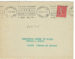 PERPIGNAN KRAG 1929 DREYFUSS (PER305) En 1994 Cote 40F PERPIGNAN SES MONTAGNES SA MER DEVANT SEUL - Marcophilie (Lettres)