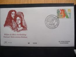 (B1) PAYS-BAS * NEDERLAND * FDC  WILLEM & MARY HERDENKING POSTVAART HELLEVOETSLUIS BRIXHAM 1988 - FDC