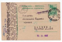 1962 YUGOSLAVIA, SLOVENIA, ROGASKA SLATINA, TPO 211 ROGAŠKA SLATINA-ZAGREB, STATIONERY CARD, USED - Interi Postali
