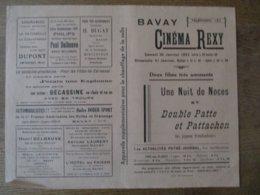 BAVAY CINEMA REXY 30 ET 31 JANVIER 1937 UNE NUIT DE NOCES ET DOUBLE PATTE ET PATTACHON - Programmes