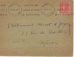 RENNES GARE KRAG 1932 DREYFUSS (REN210) 1994 Cote 20F  DEVANT SEULCIGARE PATRIOTA CIGARETTES GITANES TABAC DEVANT SEUL - Marcophilie (Lettres)