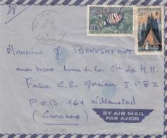 LETTRE. NOUVELLE CALEDONIE. 26 10 59. NOUMEA. PAR AVION 28Fr POUR WILLEMSTADT CURACAO (TRES RARE DESTINATION) - Briefe U. Dokumente