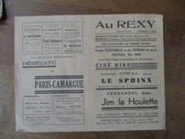 BAVAY CINEMA REXY 16 ET 17 OCTOBRE 1937 FESTIVAL DU RIRE LE SPHINX ET FERNANDEL DANS JIM LA HOULETTE - Programme
