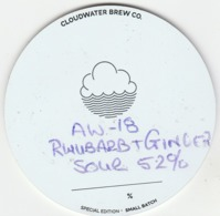 CLOUDWATER BREWERY (MANCHESTER, ENGLAND) - AW-18 RHUBARB & GINGER SOUR - KEG CLIP FRONT - Uithangborden
