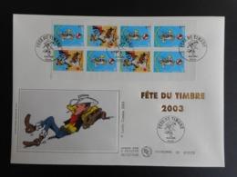 "FDC Grand Format - Carnet Fête Du Timbre 2003 ""Lucky Luke"", Oblitération 15/3/2003 - 2000-2009"