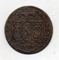 Suisse Canton GRAUBUNDEN, 1/2 Batzen, Billon, 1807, KM #6 - Schweiz