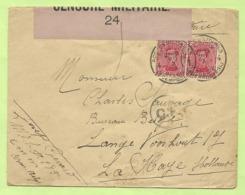 138 Op Brief PMB 4 -> La Haye (Holland) Strookje CENSURE MILITAIRE 24 (ROSE !!) + C.F.(Folkestone) (B1268) - Army: Belgium