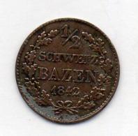 Suisse Canton GRAUBUNDEN, 1/2 Bazen, Billon, 1842, KM #13 - Schweiz