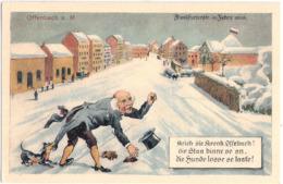 OFFENBACH Main Frankfurter Straße 1856 Winter Color älterer Mann In Frack + Zylinder M Dackel Am Schoß Mundart Spruch - Hunde