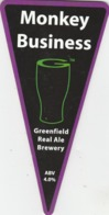 GREENFIELD REAL ALE BREWERY (SADDLEWORTH, ENGLAND) - MONKEY BUSINESS - PUMP CLIP FRONT - Uithangborden