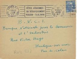 ROUEN RP RBV 1947 DREYFUSS (ROU338) 1994 Cote 300F DEVANT SEUL FETES AERIENNES DU DEBARQUEMENT ROUEN 7&8 JUIN - Storia Postale
