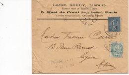 LSC - Cachet PARIS Sur YT 111 & YT 132 - Entête Lucien GOUGY - LIBRAIRE à PARIS - Marcophilie (Lettres)