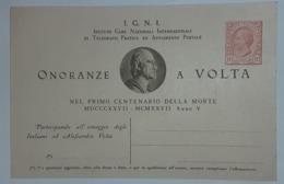 Famouse People ALESSANDRO VOLTA ITALIA 1927, FARO VOLTA - Physics