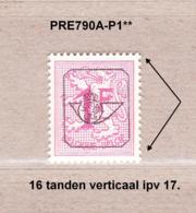 PRE790A-P1** Zonder Scharnier,16 Tanden Verticaal Ipv 17:dof Papier.Heraldieke Leeuw:1fr.Opdruk Type G.OBP 125 Euro. - Préoblitérés