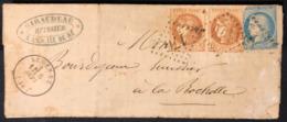 Lettre Bordeaux Sept 71 Avec N°40B En Paire, Siège N°37 Obl GC 176 De Ars En Ré !!  Manque Le 1c Pour Faire 25cts ... - 1870 Emissione Di Bordeaux