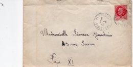 LSC 1942  - Cachet  PLOUESCAT  (Finistère) Sur Timbre Pétain YT 516 Seul Sur Lettre - Storia Postale