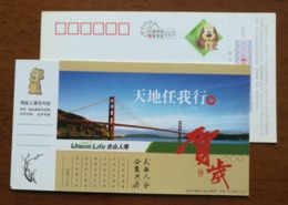 The Golden Gate Bridge In San Francisco,China 2006 Union Life Insurance Company New Year Greeting Pre-stamped Card - Ponti