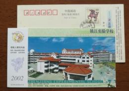 Basketball Playground,China 2002 Zhenjiang Experimental School Advertising Pre-stamped Card - Basketball