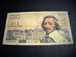 """FRANCE 10 Nouveaux Francs 04/11/1960 """"Richelieu"""", Pick N° 142 , Fayette N°57 (11), FRANCIA ,FRANKREICH , - 1959-1966 Francos Nuevos"""