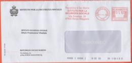 SAN MARINO - 2019 - 01,10 Ema, Red Cancel + Flamme Istituto Per La Sicurezza Sociale - Viaggiata Da San Marino - Storia Postale