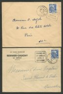 """AISNE / Lot 2 Daguin """" COURSES DE LA CAPELLE....."""" Flamme à Gauche & à Droite - Marcophilie (Lettres)"""