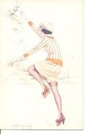 L PELTIER Illustrateur FEMME MONTRANT SA CUISSE Érotisme Charme Mode Chapeau - Künstlerkarten
