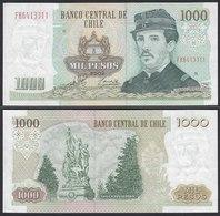 CHILE - 1000 Pesos Banknote 2002 Pick 154f  Fast XF Prefix FH Block 9 (19704 - Billetes