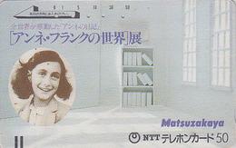 Télécarte Ancienne Japon / 110-011 - Histoire - ANNE FRANK - Holland & Germany Rel Japan Front Bar Phonecard / A - Personaggi