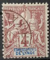 ÉTABLISSEMENTS FRANCAIS DANS L'INDE 1892 - Canceled - YT 3 - 4c - India (1892-1954)