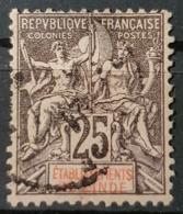 ÉTABLISSEMENTS FRANCAIS DANS L'INDE 1892 - Canceled - YT 8 - 25c - India (1892-1954)