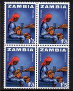 ZAMBIA, 1964  1/3d TOBACCO INDUSTRY BLOCK 4 MNH - Zambie (1965-...)