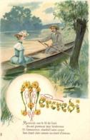 Illustrateur Mercredi Couple Mercredi Sur Le Fil De L'eau Ils Ont Promené Leur Tendresse .. Gauffrée RV - Fantaisies