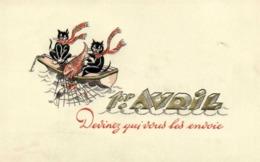Illustrateur Chats Barque Filet  Poissons 1er AVRIL  Devinez Qui Vous L'envoie Gauffrée RV - Chats